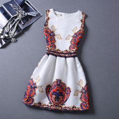 Retro Crown Print Dress - BoardwalkBuy - 2