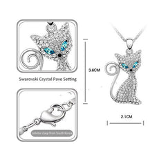 Rhodium Plated Cat Necklace - BoardwalkBuy - 4