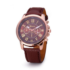 Roman Numerals Faux Leather Quartz Casual Watch - BoardwalkBuy - 2