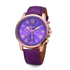 Roman Numerals Faux Leather Quartz Casual Watch - BoardwalkBuy - 3