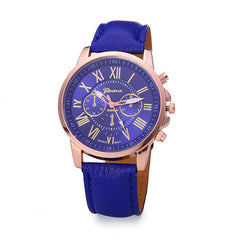 Roman Numerals Faux Leather Quartz Casual Watch - BoardwalkBuy - 1