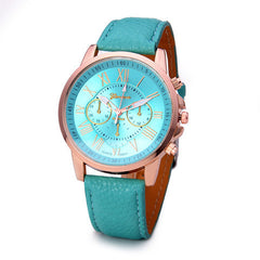 Roman Numerals Faux Leather Quartz Casual Watch - BoardwalkBuy - 8