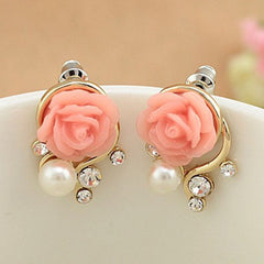 Rose Flower Crystal Rhinestone Pearl Stud Earrings - BoardwalkBuy - 2