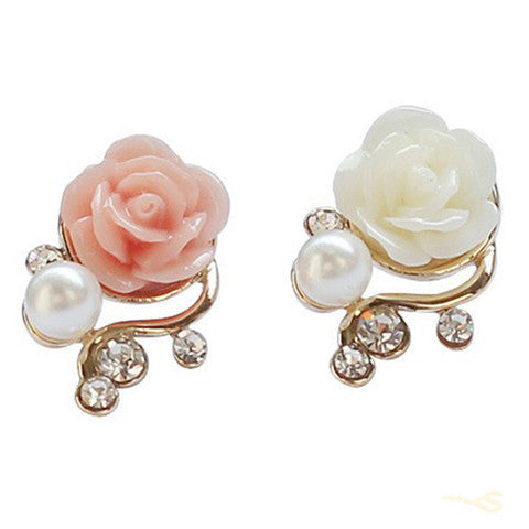 Rose Flower Crystal Rhinestone Pearl Stud Earrings