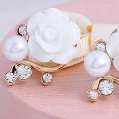 Rose Flower Crystal Rhinestone Pearl Stud Earrings - BoardwalkBuy - 3