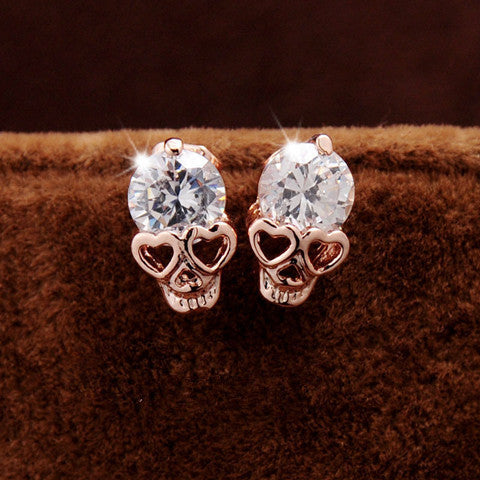 Rose Gold Skull Vintage Stud Earring - BoardwalkBuy - 1