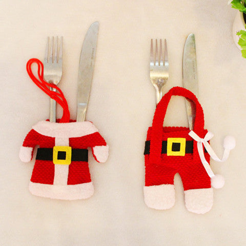 6 Sets: Santa Christmas Decorations Silverware Holders Pockets