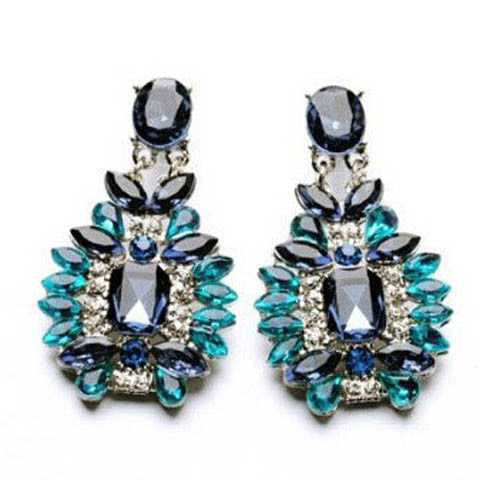 Shiny Blue Crystal Earrings