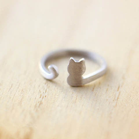Silver Plating Cat  Adjustable Ring