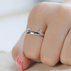 Silver Plated Cat Ear Ring - BoardwalkBuy - 2