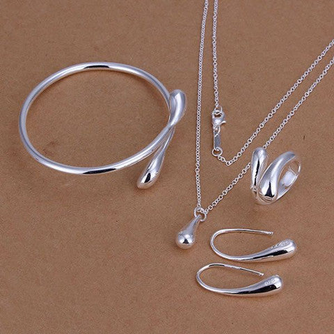 Silver Drop Jewelry Set - Necklace Bangle Earring Ring - BoardwalkBuy - 1
