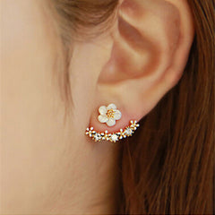 Small Daisy Flower Sterling Silver Earrings - BoardwalkBuy - 3
