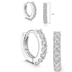 White Crystal Sterling Silver Hoop Earrings - BoardwalkBuy - 4