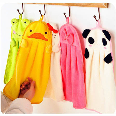 Soft Plush Fabric Cartoon Animal Hanging Wipe Bathing Towel