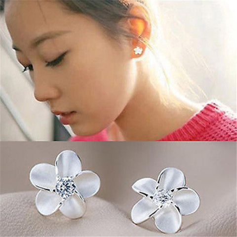 Sterling Silver Crystal  Flower Ear Studs