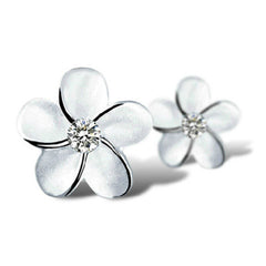 Sterling Silver Crystal  Flower Ear Studs - BoardwalkBuy - 2