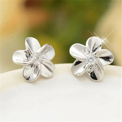 Sterling Silver Crystal  Flower Ear Studs - BoardwalkBuy - 3