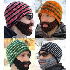 Striped Knit Ski Face Mask Hats for Man - BoardwalkBuy - 1