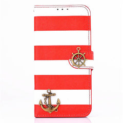 "iPhone 6 4.7"" Wallet Stripe Leather Case - BoardwalkBuy - 1"