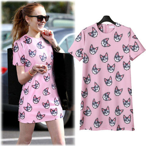 Women Casual Cat Print  Short Sleeve