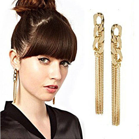 Tassel Pendant  Dangle Elegant Gold Plated Ear Stud