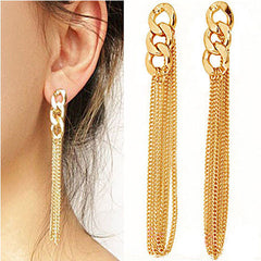 Tassel Pendant  Dangle Elegant Gold Plated Ear Stud - BoardwalkBuy - 5