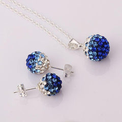 Two Colors Crystal Ball Necklace + Earrings - BoardwalkBuy - 1