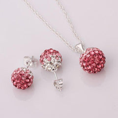 Two Colors Crystal Ball Necklace + Earrings - BoardwalkBuy - 2