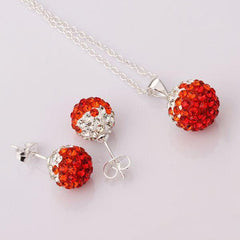 Two Colors Crystal Ball Necklace + Earrings - BoardwalkBuy - 3