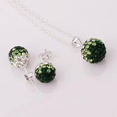Two Colors Crystal Ball Necklace + Earrings - BoardwalkBuy - 4