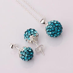 Two Colors Crystal Ball Necklace + Earrings - BoardwalkBuy - 5