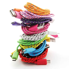 Extra Long (10 Ft) Fiber Cloth Sync & Charge USB Android Cable - Assorted Colors - BoardwalkBuy - 3
