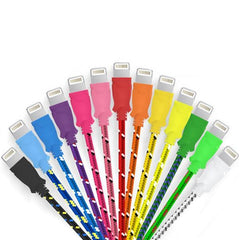 2 Pack: 10 Feet Fiber Cloth Cable for iPhone 5 & 6 - Assorted Colors - BoardwalkBuy - 1