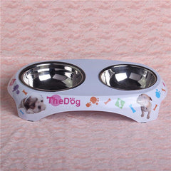 Pet Cat Food Water Double Dish Bowls