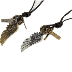 Vintage Angel Wing Men's Leather Necklace - BoardwalkBuy - 2