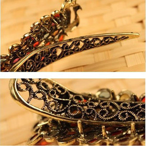 Vintage Women'S Fashion Colorful Rhinestone Peacock Hairpin