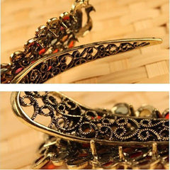 Vintage women's fashion colorful rhinestone peacock Hairpin - BoardwalkBuy - 1