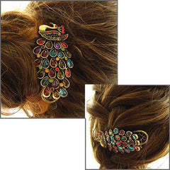 Vintage women's fashion colorful rhinestone peacock Hairpin - BoardwalkBuy - 5