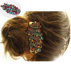 Vintage women's fashion colorful rhinestone peacock Hairpin - BoardwalkBuy - 7