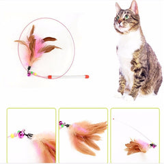 Feathers Cats Wire Rods Flying Toy Random Color