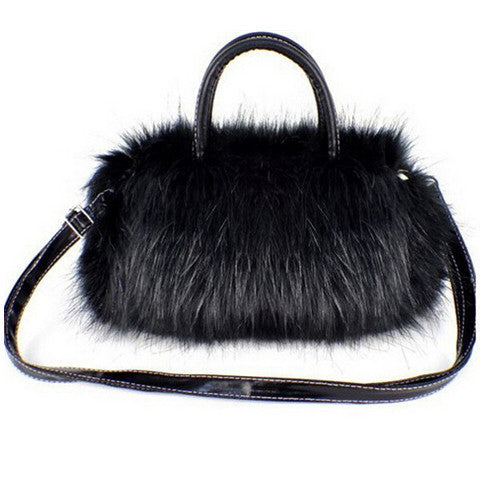 Womans Faux Rabbit Fur Handbag