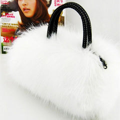 Womans Faux Rabbit Fur Handbag - BoardwalkBuy - 2