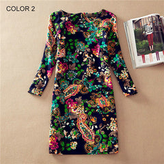 Long Sleeve Vintage Floral Print Women Dress - BoardwalkBuy - 2