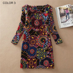 Long Sleeve Vintage Floral Print Women Dress - BoardwalkBuy - 3