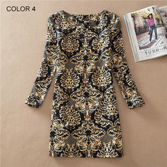 Long Sleeve Vintage Floral Print Women Dress - BoardwalkBuy - 4