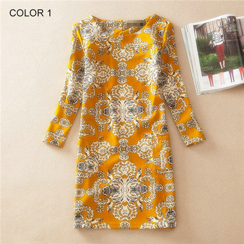 Long Sleeve Vintage Floral Print Women Dress - BoardwalkBuy - 1
