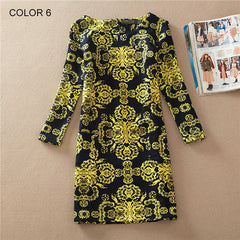 Long Sleeve Vintage Floral Print Women Dress - BoardwalkBuy - 5