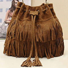 Women Faux Suede Fringe Tassel Handbag - BoardwalkBuy - 4