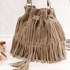 Women Faux Suede Fringe Tassel Handbag - BoardwalkBuy - 5
