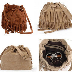 Women Faux Suede Fringe Tassel Handbag - BoardwalkBuy - 1